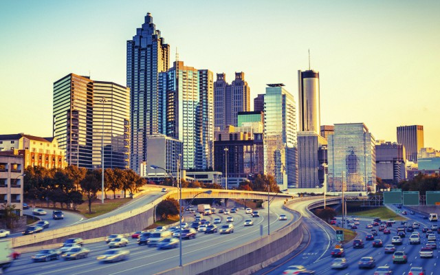 Atlanta Skyline and Highway at Sunset